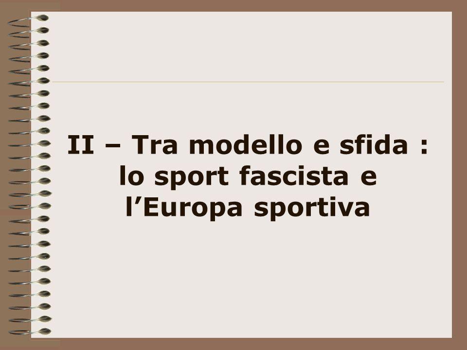 II – Tra modello e sfida : lo sport fascista e l'Europa sportiva