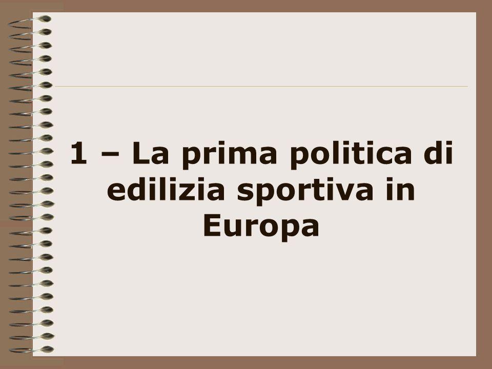 1 – La prima politica di edilizia sportiva in Europa