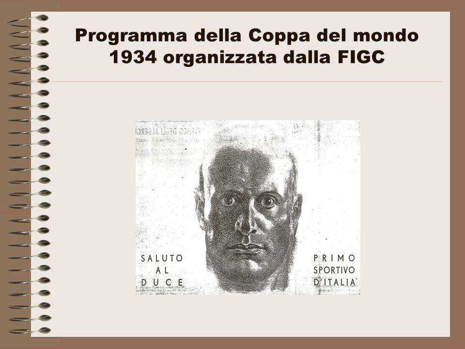 Programma della Coppa del mondo 1934 organizzata dalla FIGC