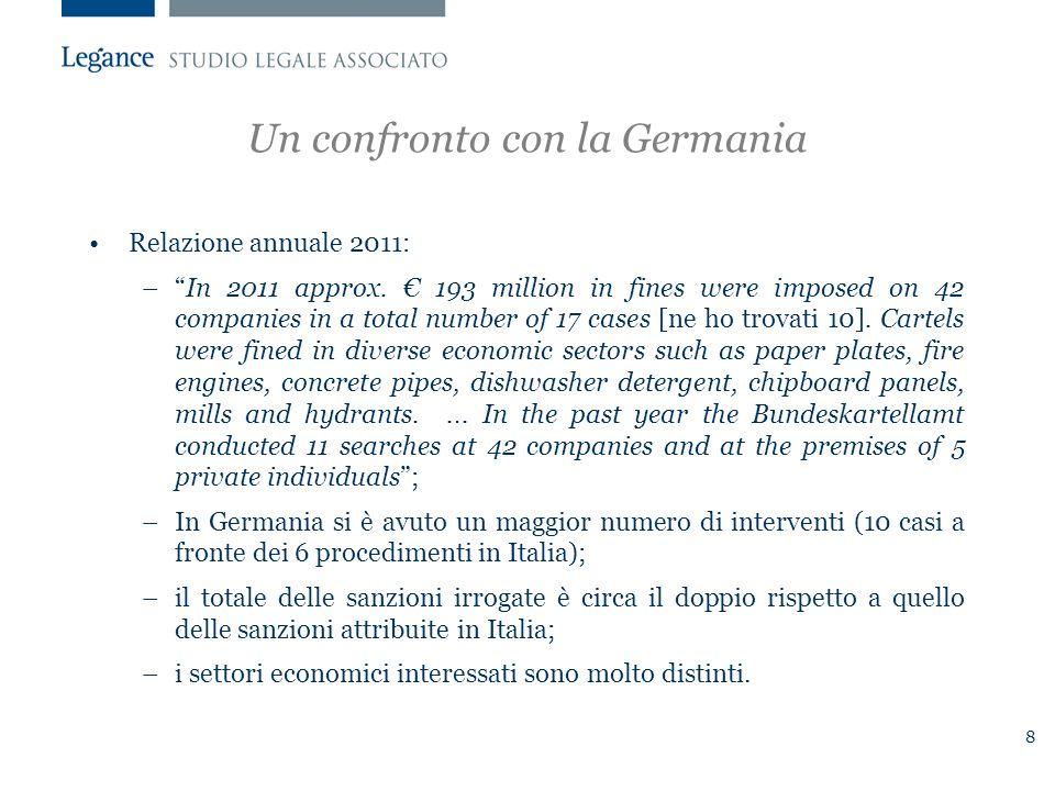 8 Un confronto con la Germania Relazione annuale 2011: – In 2011 approx.