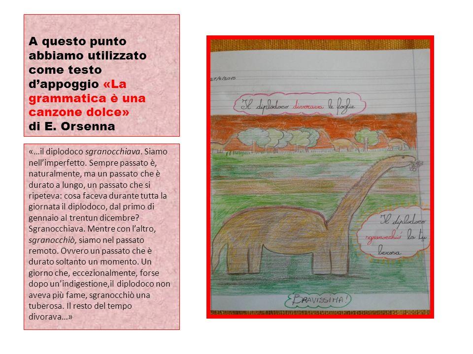A questo punto abbiamo utilizzato come testo d'appoggio «La grammatica è una canzone dolce» di E. Orsenna «…il diplodoco sgranocchiava. Siamo nell'imp