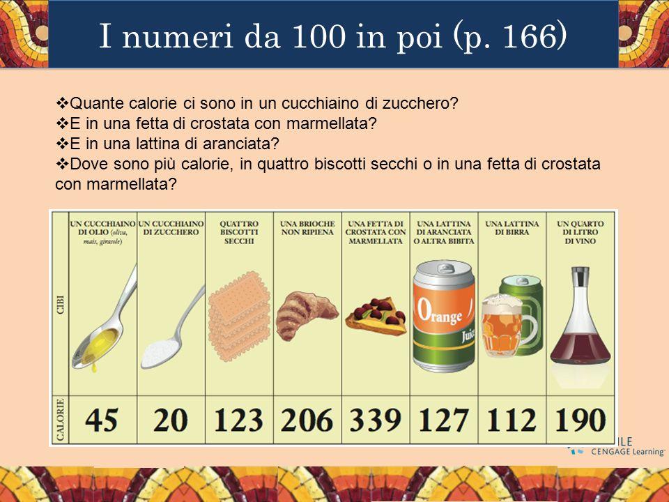 I numeri da 100 in poi (p. 166)  Quante calorie ci sono in un cucchiaino di zucchero?  E in una fetta di crostata con marmellata?  E in una lattina