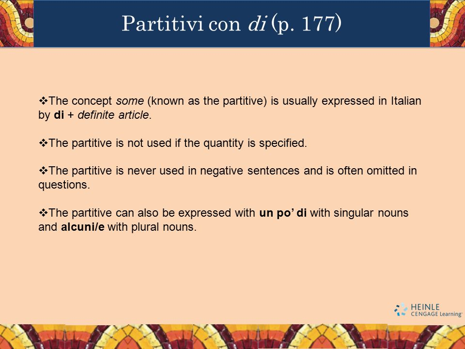  The concept some (known as the partitive) is usually expressed in Italian by di + definite article.  The partitive is not used if the quantity is s