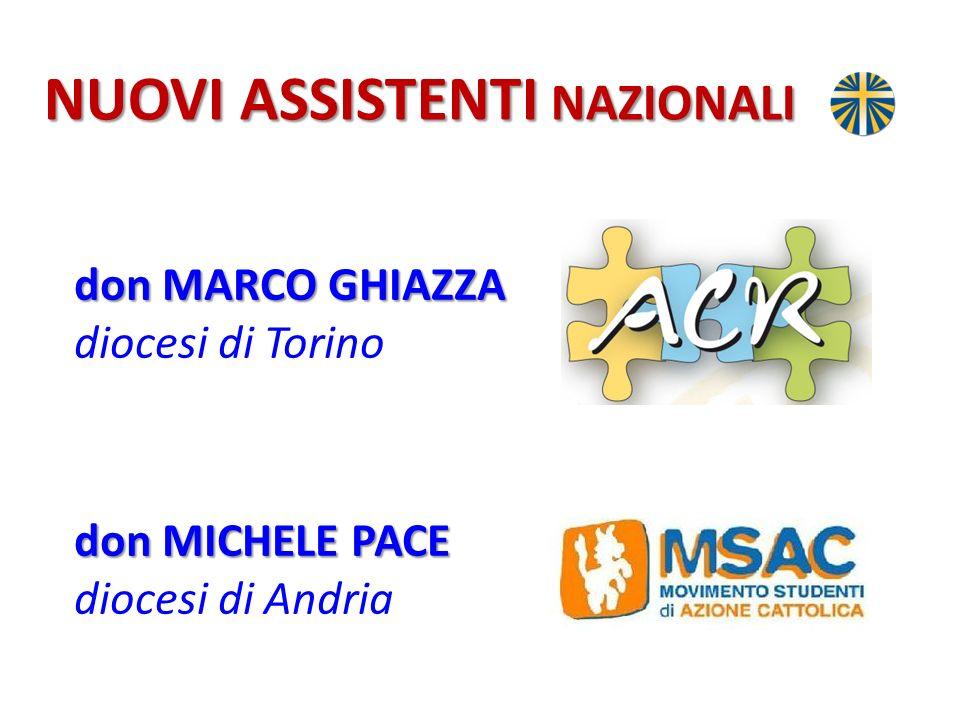 NUOVI ASSISTENTI NAZIONALI don MARCO GHIAZZA don MARCO GHIAZZA diocesi di Torino don MICHELE PACE don MICHELE PACE diocesi di Andria