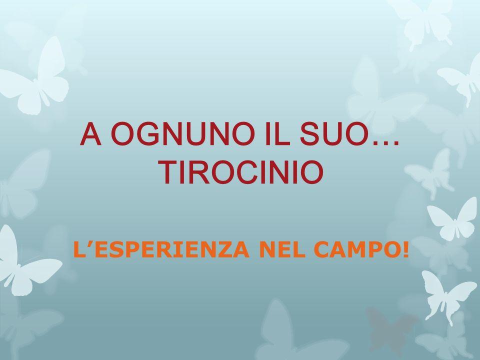 A OGNUNO IL SUO… TIROCINIO L'ESPERIENZA NEL CAMPO!