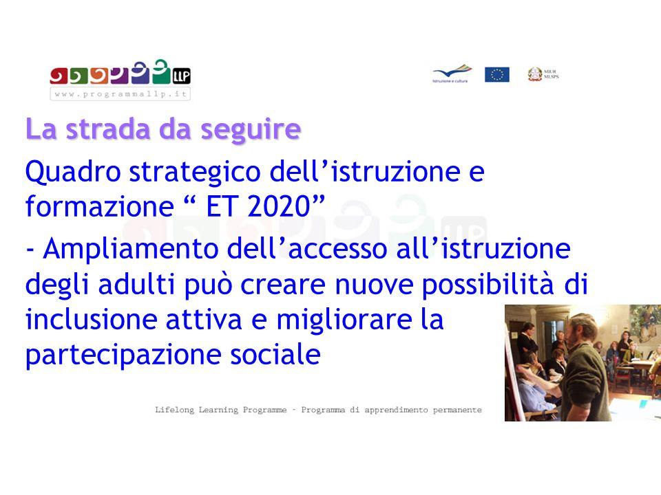 La strada da seguire Quadro strategico dell'istruzione e formazione ET 2020 - Ampliamento dell'accesso all'istruzione degli adulti può creare nuove possibilità di inclusione attiva e migliorare la partecipazione sociale