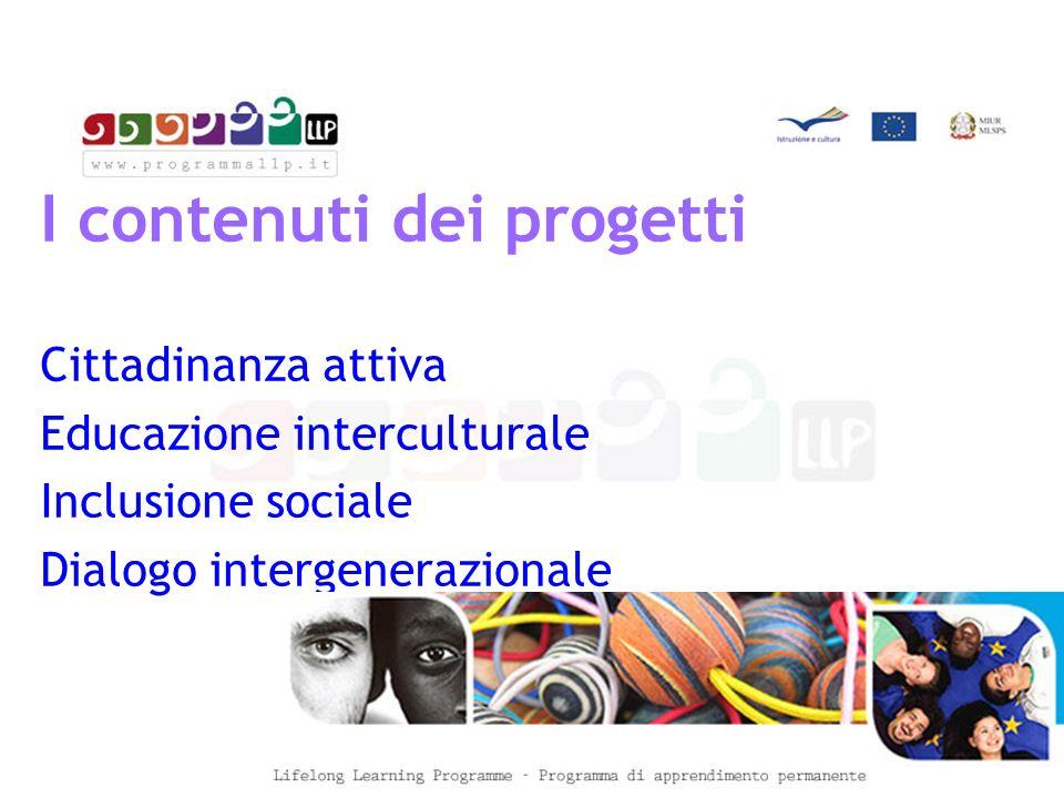 I contenuti dei progetti Cittadinanza attiva Educazione interculturale Inclusione sociale Dialogo intergenerazionale