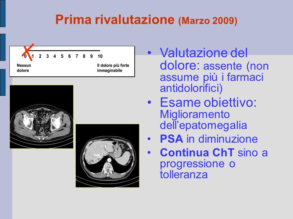 Valutazione del dolore: assente (non assume più i farmaci antidolorifici) Esame obiettivo: Miglioramento dell'epatomegalia PSA in diminuzione Continu