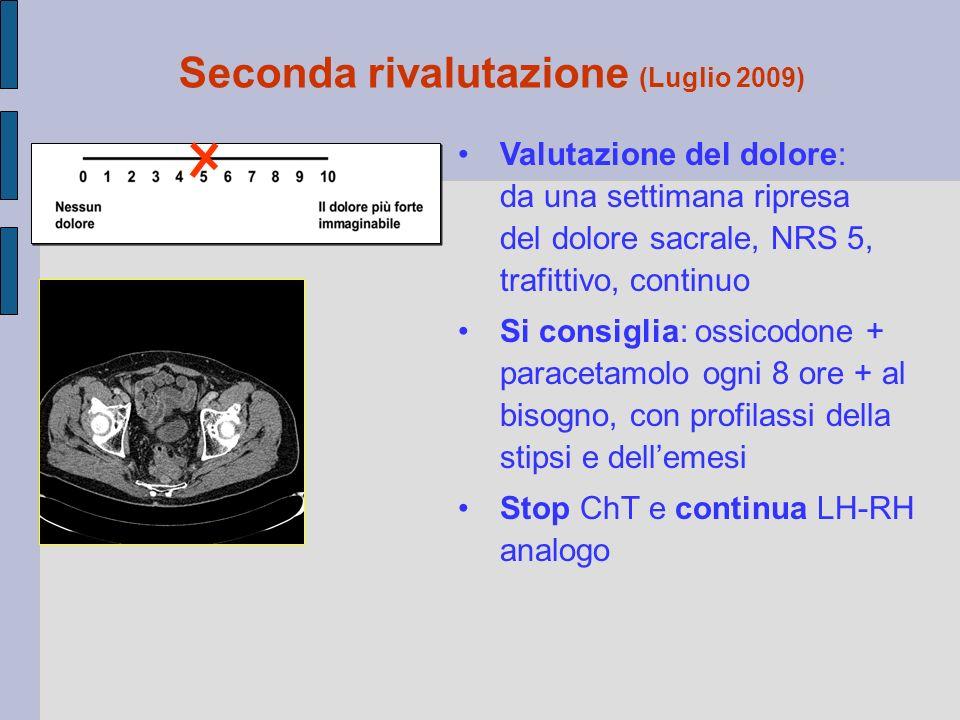 Valutazione del dolore: da una settimana ripresa del dolore sacrale, NRS 5, trafittivo, continuo Si consiglia: ossicodone + paracetamolo ogni 8 ore +