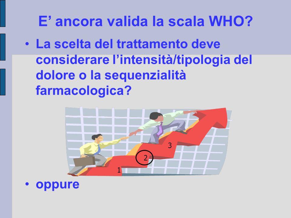 E' ancora valida la scala WHO? La scelta del trattamento deve considerare l'intensità/tipologia del dolore o la sequenzialità farmacologica? oppure 1