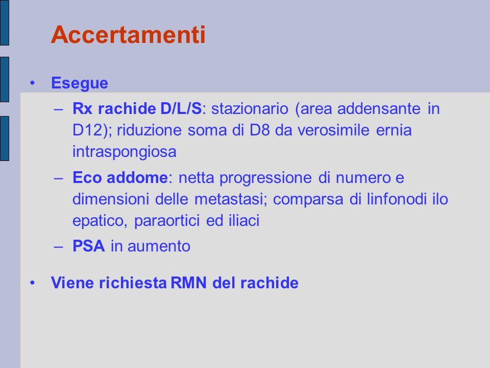 Esegue –Rx rachide D/L/S: stazionario (area addensante in D12); riduzione soma di D8 da verosimile ernia intraspongiosa –Eco addome: netta progression