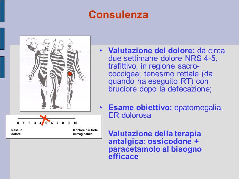Valutazione del dolore: da circa due settimane dolore NRS 4-5, trafittivo, in regione sacro- coccigea; tenesmo rettale (da quando ha eseguito RT) con