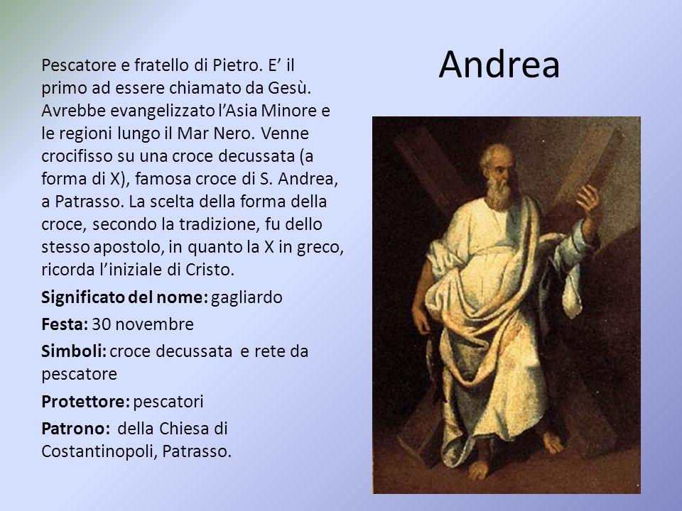 Andrea Pescatore e fratello di Pietro.E' il primo ad essere chiamato da Gesù.