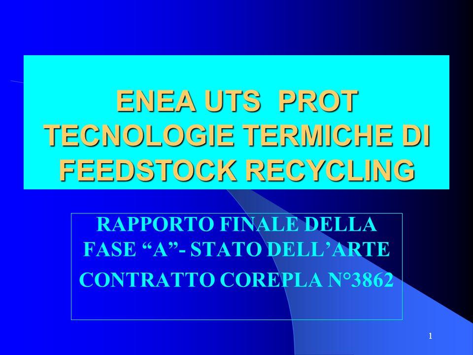1 ENEA UTS PROT TECNOLOGIE TERMICHE DI FEEDSTOCK RECYCLING RAPPORTO FINALE DELLA FASE A - STATO DELL'ARTE CONTRATTO COREPLA N°3862
