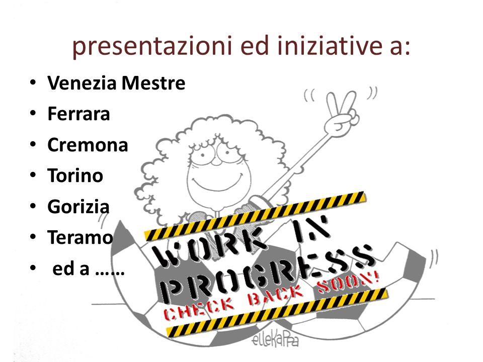 presentazioni ed iniziative a: Venezia Mestre Ferrara Cremona Torino Gorizia Teramo ed a ……