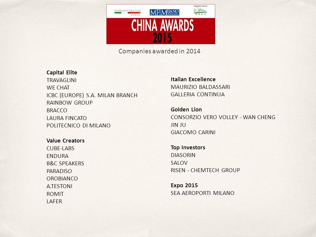 Companies awarded in 2014 Capital Elite TRAVAGLINI WE CHAT ICBC (EUROPE) S.A.