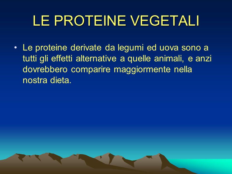 LE PROTEINE VEGETALI Le proteine derivate da legumi ed uova sono a tutti gli effetti alternative a quelle animali, e anzi dovrebbero comparire maggior