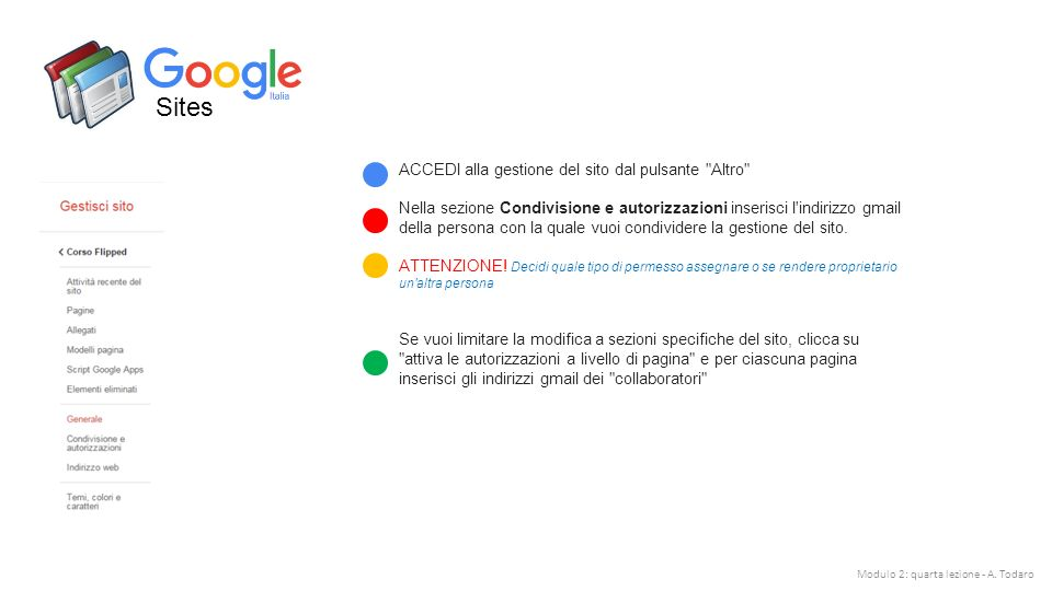 Sites ACCEDI alla gestione del sito dal pulsante Altro Nella sezione Condivisione e autorizzazioni inserisci l indirizzo gmail della persona con la quale vuoi condividere la gestione del sito.