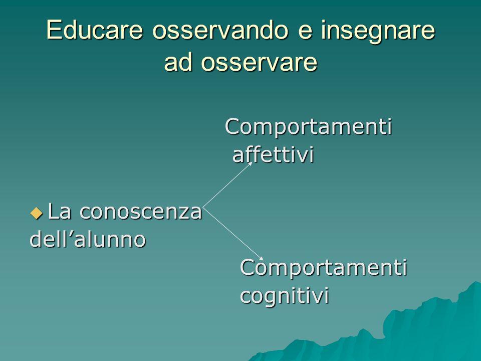 Educare osservando e insegnare ad osservare Comportamenti Comportamenti affettivi affettivi  La conoscenza dell'alunno Comportamenti Comportamenti cognitivi cognitivi