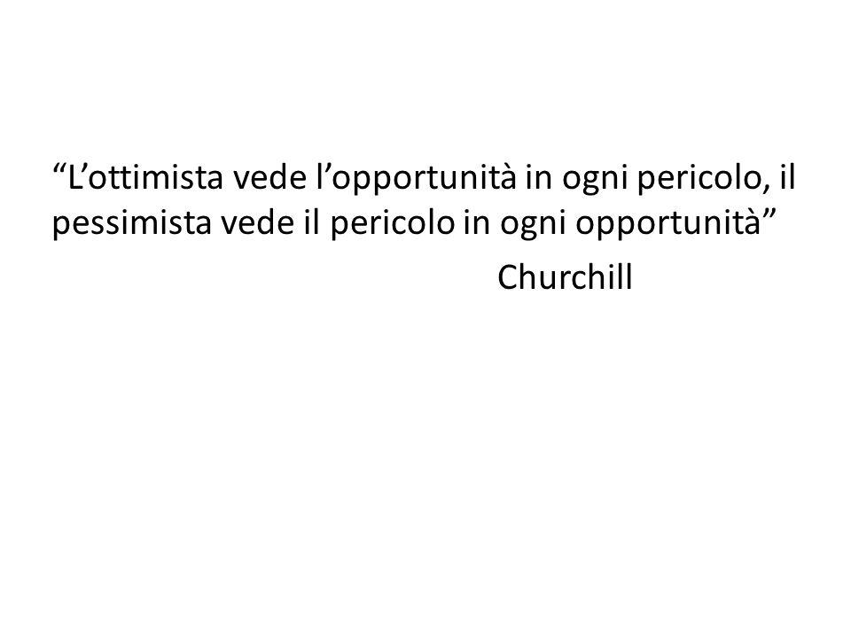 """""""L'ottimista vede l'opportunità in ogni pericolo, il pessimista vede il pericolo in ogni opportunità"""" Churchill"""