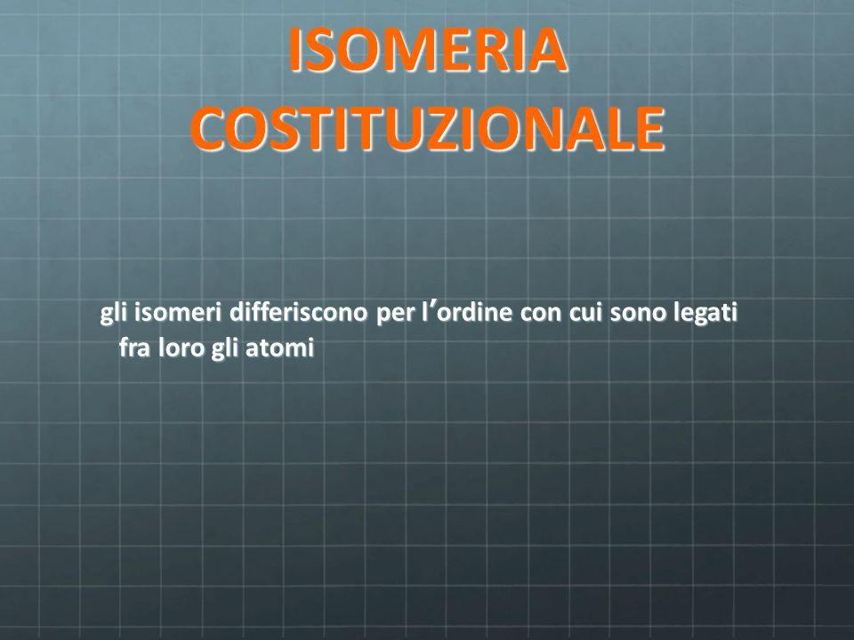 ISOMERIA COSTITUZIONALE gli isomeri differiscono per l'ordine con cui sono legati fra loro gli atomi gli isomeri differiscono per l'ordine con cui son