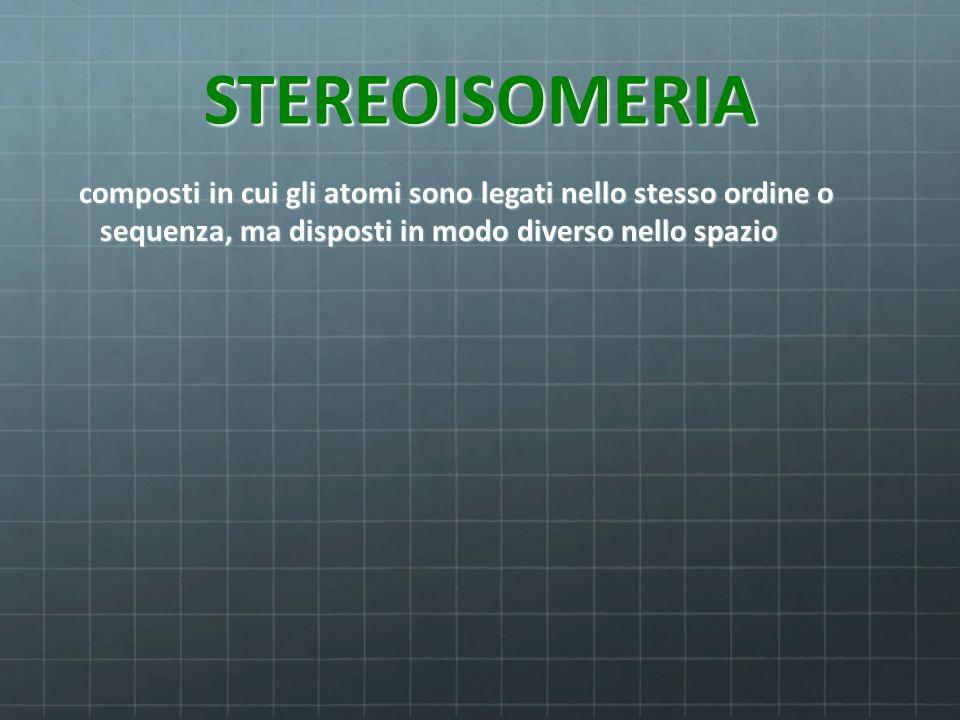 STEREOISOMERIA composti in cui gli atomi sono legati nello stesso ordine o sequenza, ma disposti in modo diverso nello spazio composti in cui gli atom