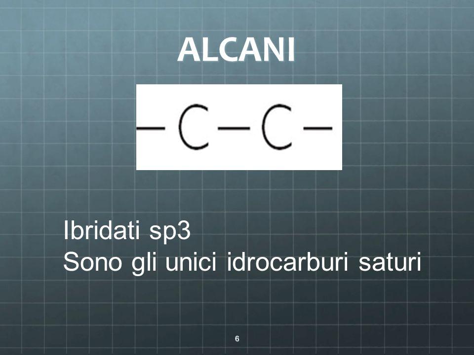 ALCANI 6 Ibridati sp3 Sono gli unici idrocarburi saturi