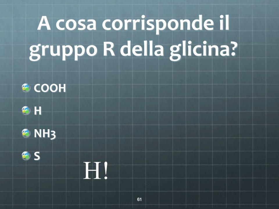 A cosa corrisponde il gruppo R della glicina? COOHHNH3S 61 H!