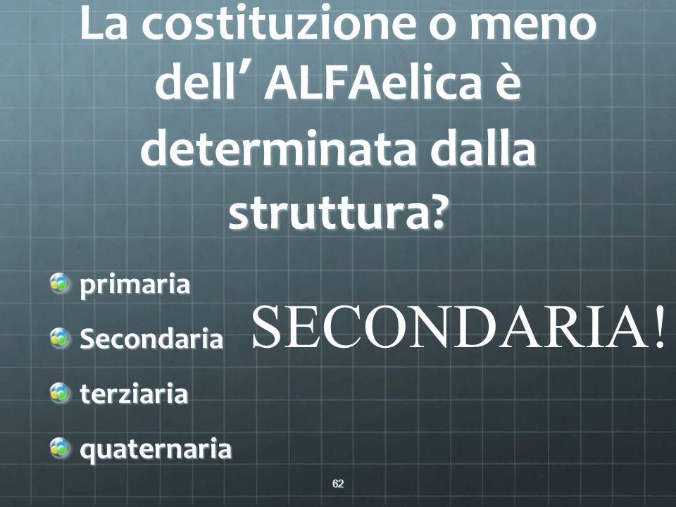 La costituzione o meno dell' ALFAelica è determinata dalla struttura? primariaSecondariaterziariaquaternaria 62 SECONDARIA!