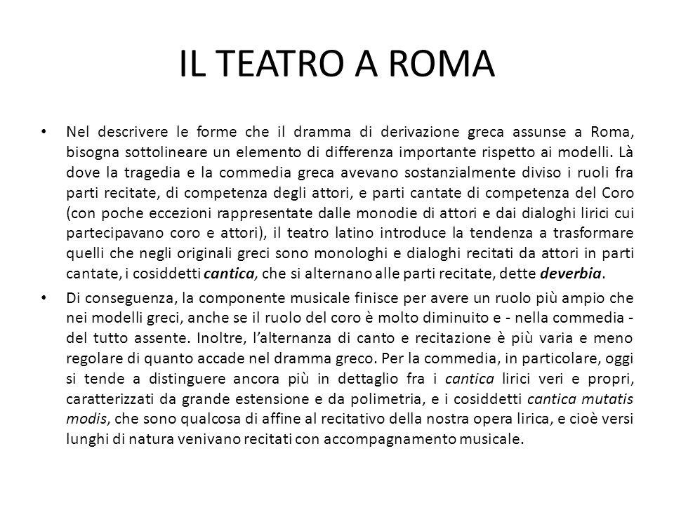 IL TEATRO A ROMA Nel descrivere le forme che il dramma di derivazione greca assunse a Roma, bisogna sottolineare un elemento di differenza importante