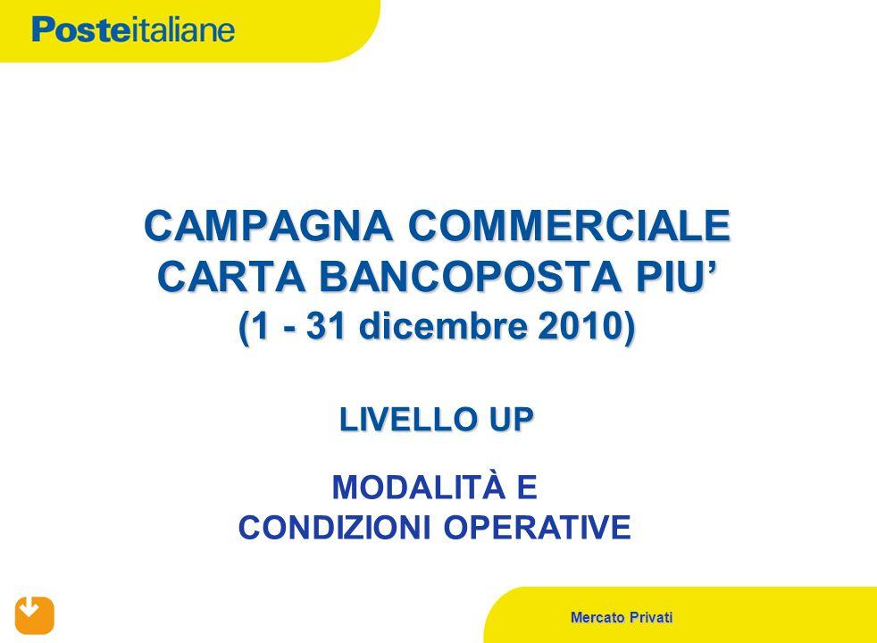 Mercato Privati CAMPAGNA COMMERCIALE CARTA BANCOPOSTA PIU' (1 - 31 dicembre 2010) LIVELLO UP MODALITÀ E CONDIZIONI OPERATIVE