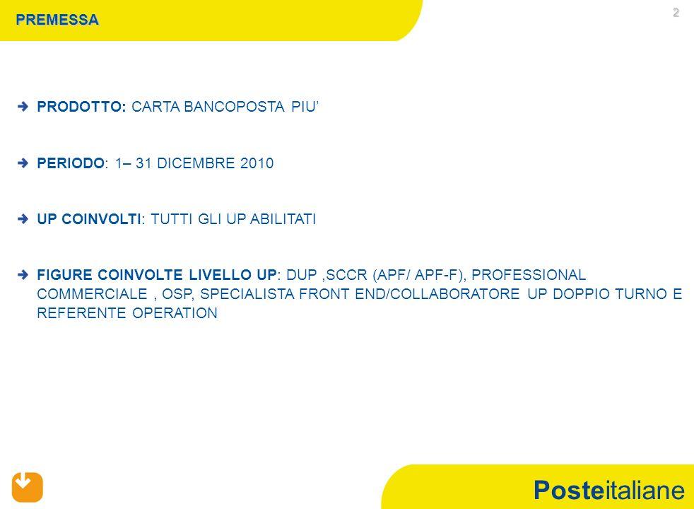 Posteitaliane 2 PREMESSA PRODOTTO: CARTA BANCOPOSTA PIU' PERIODO: 1– 31 DICEMBRE 2010 UP COINVOLTI: TUTTI GLI UP ABILITATI FIGURE COINVOLTE LIVELLO UP: DUP,SCCR (APF/ APF-F), PROFESSIONAL COMMERCIALE, OSP, SPECIALISTA FRONT END/COLLABORATORE UP DOPPIO TURNO E REFERENTE OPERATION