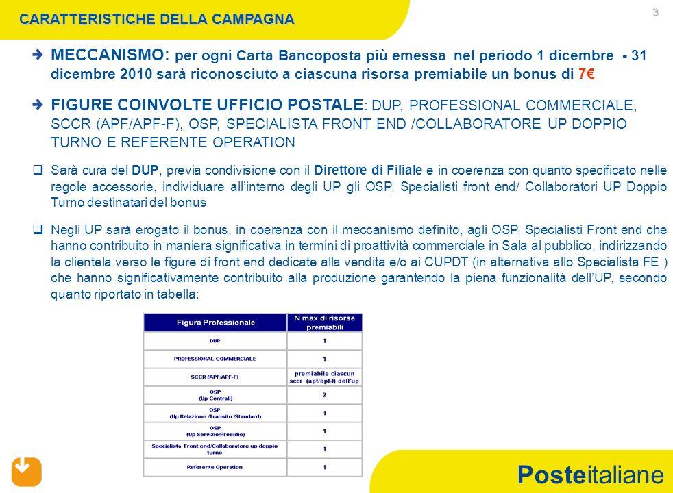 Posteitaliane 3 CARATTERISTICHE DELLA CAMPAGNA FIGURE COINVOLTE UFFICIO POSTALE : DUP, PROFESSIONAL COMMERCIALE, SCCR (APF/APF-F), OSP, SPECIALISTA FRONT END /COLLABORATORE UP DOPPIO TURNO E REFERENTE OPERATION   Sarà cura del DUP, previa condivisione con il Direttore di Filiale e in coerenza con quanto specificato nelle regole accessorie, individuare all'interno degli UP gli OSP, Specialisti front end/ Collaboratori UP Doppio Turno destinatari del bonus   Negli UP sarà erogato il bonus, in coerenza con il meccanismo definito, agli OSP, Specialisti Front end che hanno contribuito in maniera significativa in termini di proattività commerciale in Sala al pubblico, indirizzando la clientela verso le figure di front end dedicate alla vendita e/o ai CUPDT (in alternativa allo Specialista FE ) che hanno significativamente contribuito alla produzione garantendo la piena funzionalità dell'UP, secondo quanto riportato in tabella: MECCANISMO: per ogni Carta Bancoposta più emessa nel periodo 1 dicembre - 31 dicembre 2010 sarà riconosciuto a ciascuna risorsa premiabile un bonus di 7€