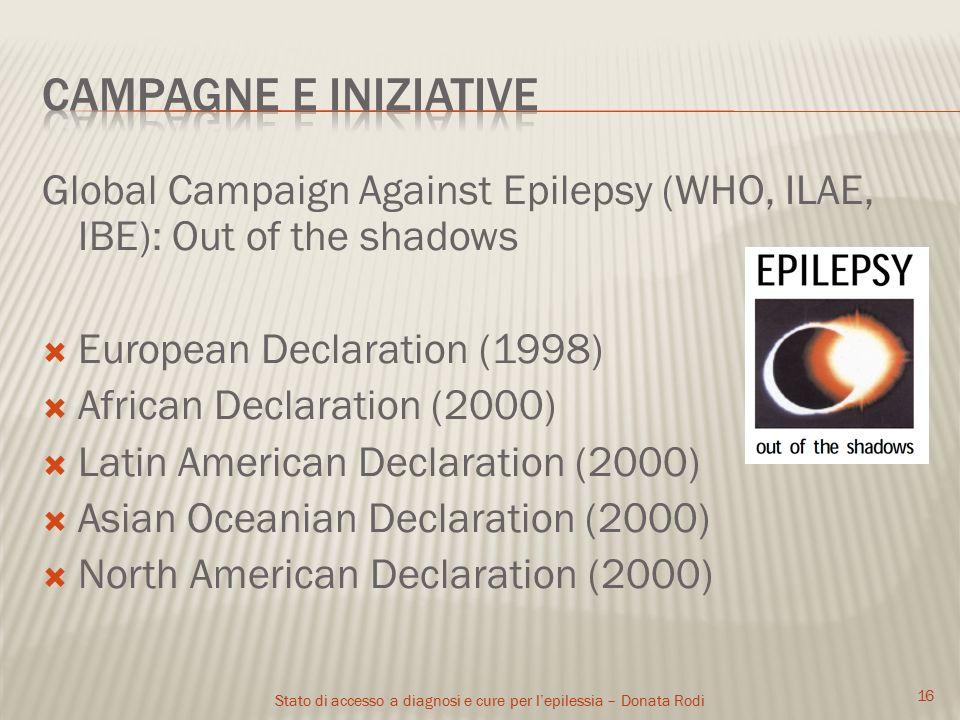 Stato di accesso a diagnosi e cure per l'epilessia – Donata Rodi 17 Ringraziamenti: Prof.