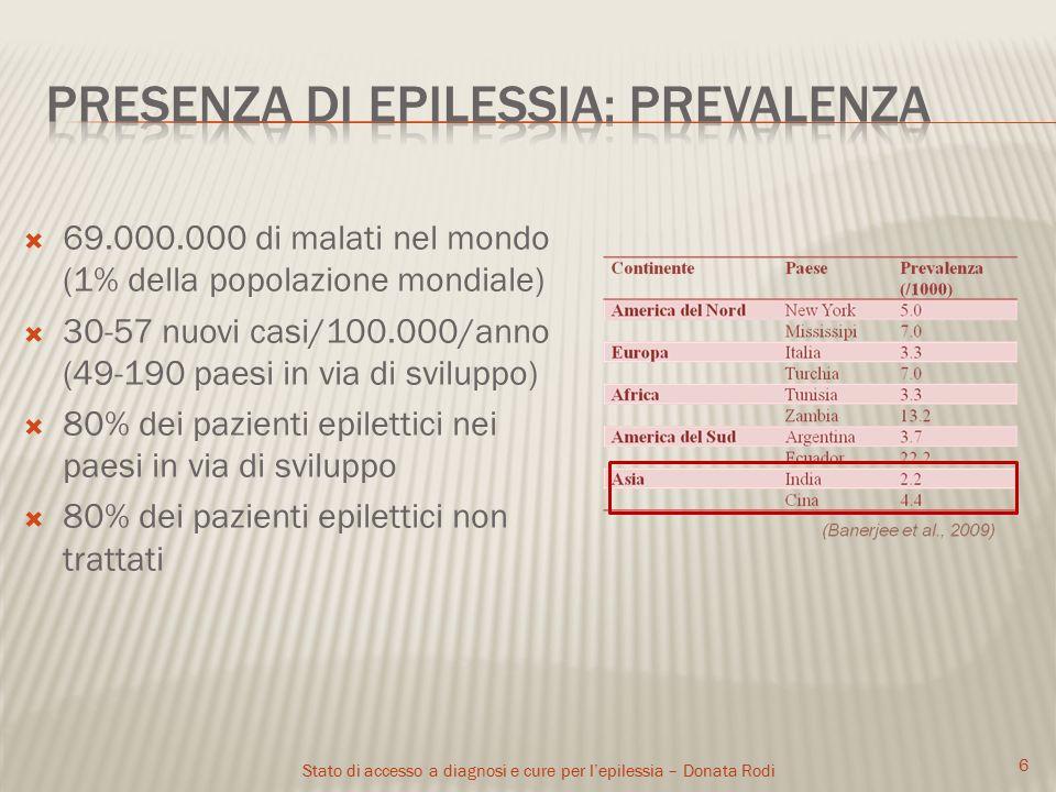 Stato di accesso a diagnosi e cure per l'epilessia – Donata Rodi 6  69.000.000 di malati nel mondo (1% della popolazione mondiale)  30-57 nuovi casi/100.000/anno (49-190 paesi in via di sviluppo)  80% dei pazienti epilettici nei paesi in via di sviluppo  80% dei pazienti epilettici non trattati