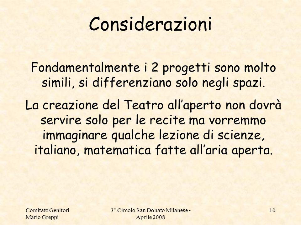Comitato Genitori Mario Greppi 3° Circolo San Donato Milanese - Aprile 2008 10 Fondamentalmente i 2 progetti sono molto simili, si differenziano solo