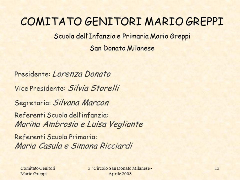 Comitato Genitori Mario Greppi 3° Circolo San Donato Milanese - Aprile 2008 13 COMITATO GENITORI MARIO GREPPI Scuola dell'Infanzia e Primaria Mario Gr