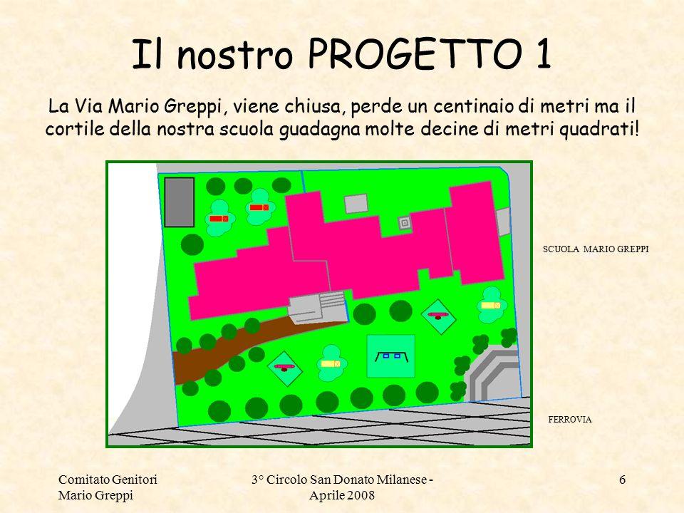 Comitato Genitori Mario Greppi 3° Circolo San Donato Milanese - Aprile 2008 6 Il nostro PROGETTO 1 FERROVIA SCUOLA MARIO GREPPI La Via Mario Greppi, v