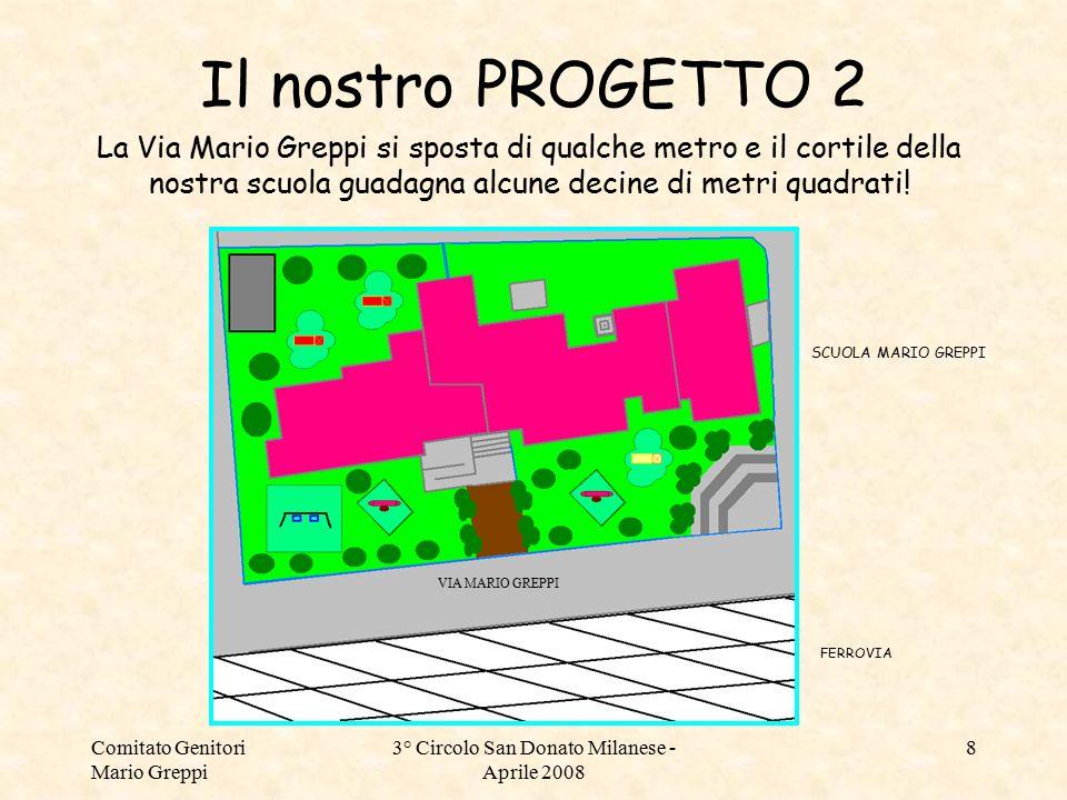 Comitato Genitori Mario Greppi 3° Circolo San Donato Milanese - Aprile 2008 8 Il nostro PROGETTO 2 La Via Mario Greppi si sposta di qualche metro e il