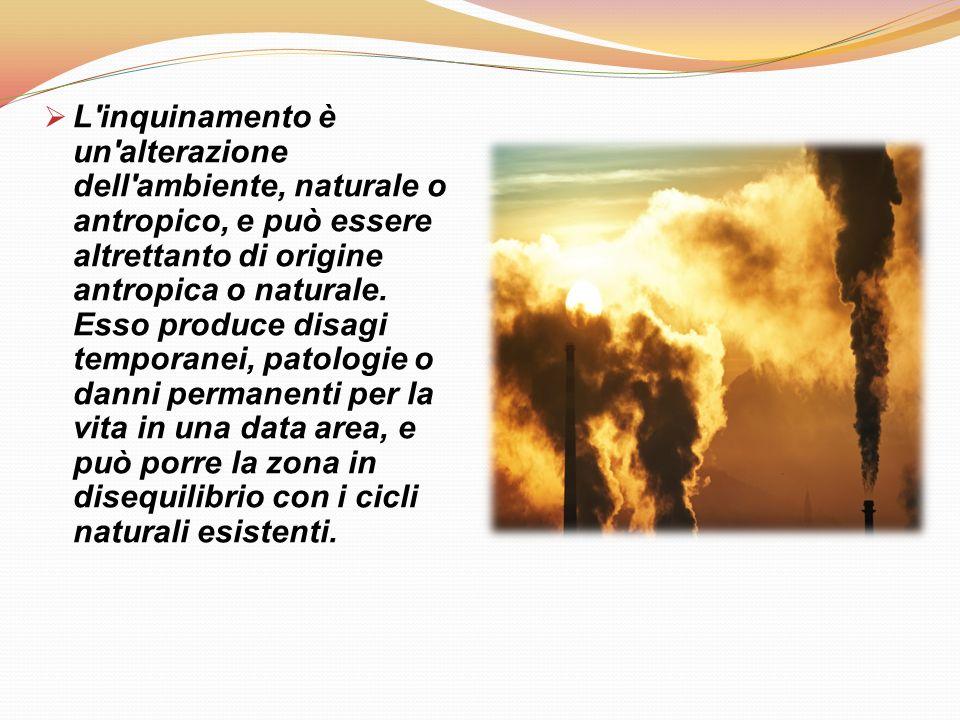 Ci sono diversi tipi di inquinamento:  Inquinamento acustico  Inquinamento atmosferico  Inquinamento idrico  Inquinamento elettromagnetico