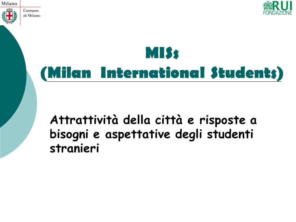 MISs (Milan International Students) Attrattività della città e risposte a bisogni e aspettative degli studenti stranieri