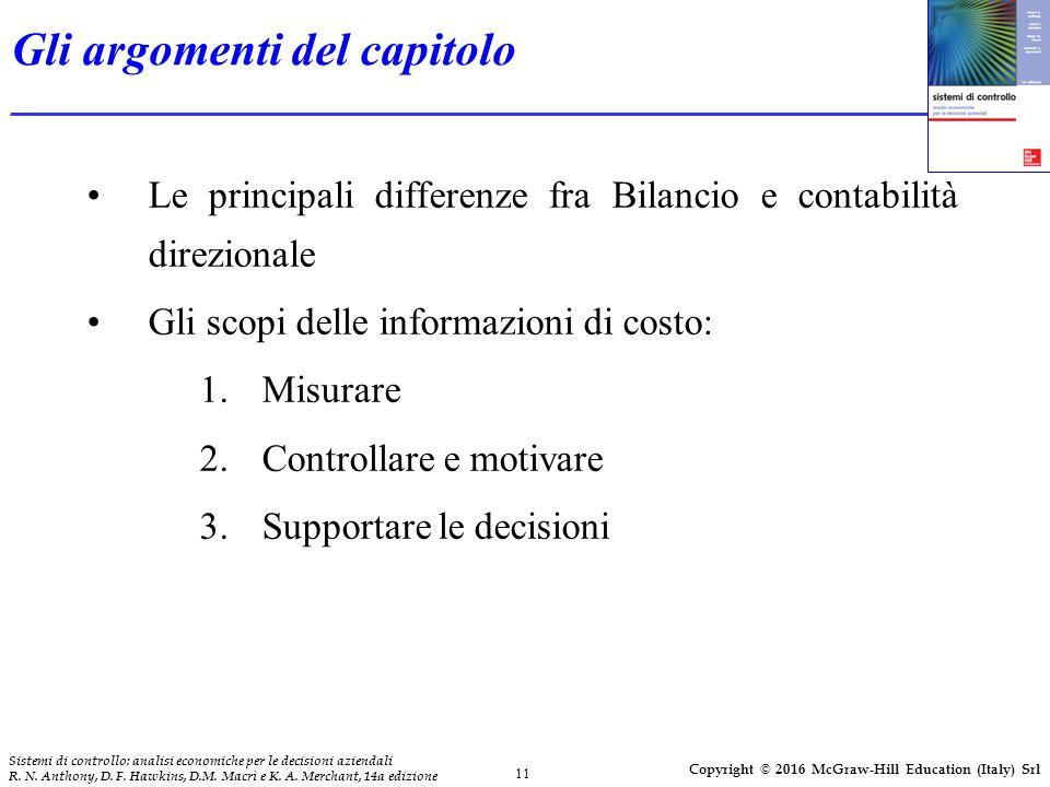 11 Sistemi di controllo: analisi economiche per le decisioni aziendali R. N. Anthony, D. F. Hawkins, D.M. Macrì e K. A. Merchant, 14a edizione Copyrig