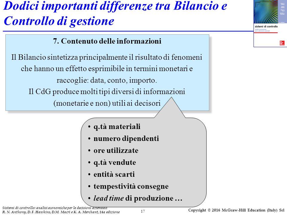 17 Sistemi di controllo: analisi economiche per le decisioni aziendali R.