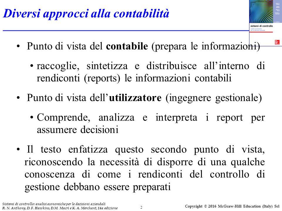 2 Sistemi di controllo: analisi economiche per le decisioni aziendali R. N. Anthony, D. F. Hawkins, D.M. Macrì e K. A. Merchant, 14a edizione Copyrigh