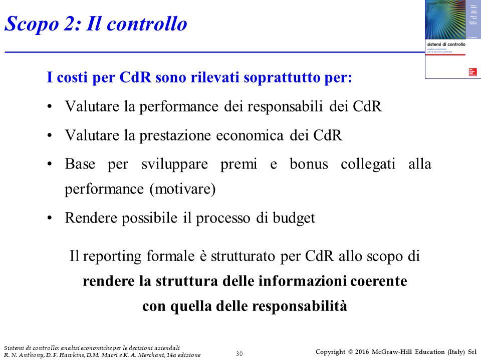 30 Sistemi di controllo: analisi economiche per le decisioni aziendali R. N. Anthony, D. F. Hawkins, D.M. Macrì e K. A. Merchant, 14a edizione Copyrig