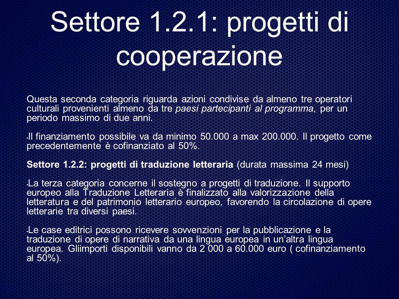 Settore 1.2.1: progetti di cooperazione Questa seconda categoria riguarda azioni condivise da almeno tre operatori culturali provenienti almeno da tre paesi partecipanti al programma, per un periodo massimo di due anni.