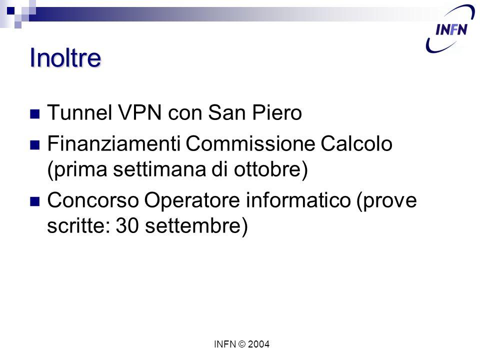 INFN © 2004 Inoltre Tunnel VPN con San Piero Finanziamenti Commissione Calcolo (prima settimana di ottobre) Concorso Operatore informatico (prove scritte: 30 settembre)
