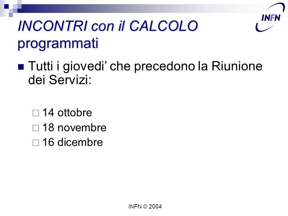 INFN © 2004 INCONTRI con il CALCOLO programmati Tutti i giovedi' che precedono la Riunione dei Servizi:  14 ottobre  18 novembre  16 dicembre