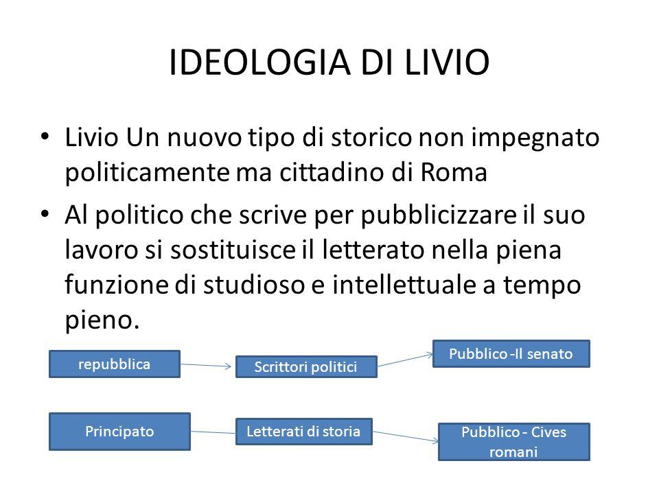 IDEOLOGIA DI LIVIO Livio Un nuovo tipo di storico non impegnato politicamente ma cittadino di Roma Al politico che scrive per pubblicizzare il suo lav