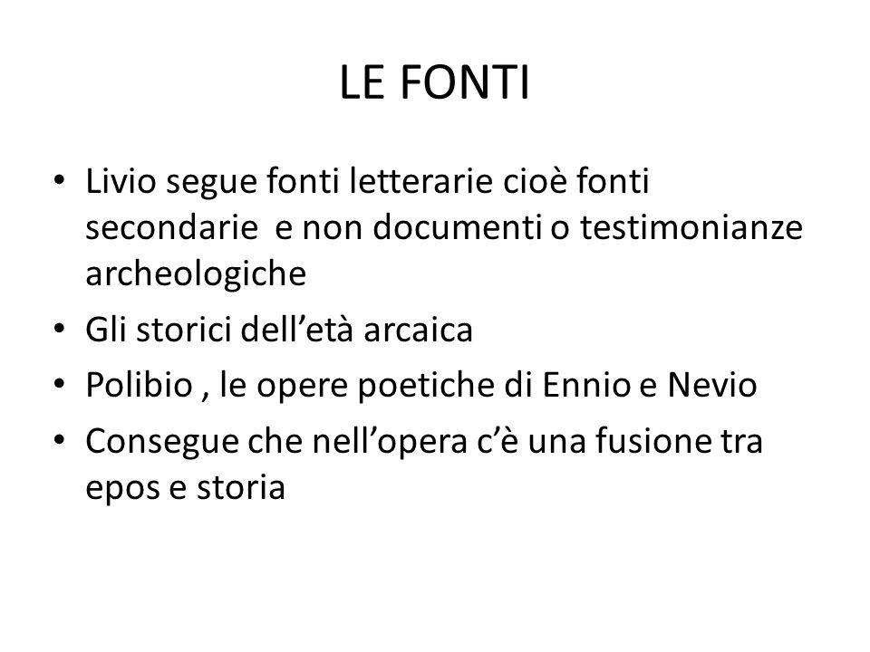 LE FONTI Livio segue fonti letterarie cioè fonti secondarie e non documenti o testimonianze archeologiche Gli storici dell'età arcaica Polibio, le ope